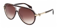 Alexander Mcqueen AM0020S 004 HAVANA / CRYSTAL / BROWN