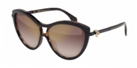 Alexander Mcqueen AM0021S 001 BLACK / HAVANA / BROWN